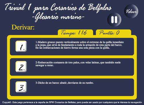 Screenshot Juego Flash trivial Náutico para PdC